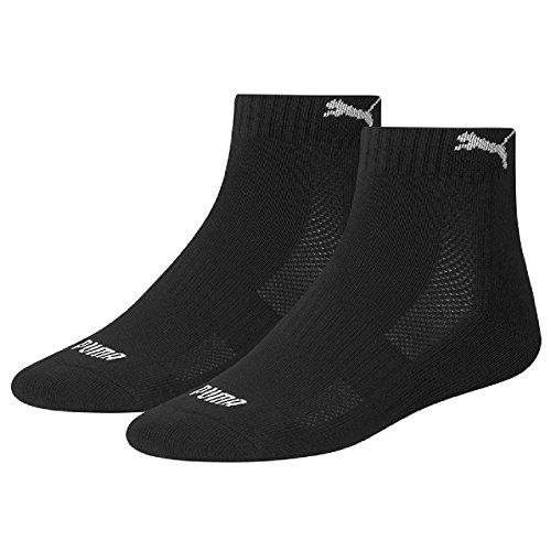 PUMA 6 Paar Quarter Socken mit Frottee-Sohle Gr. 35-46 Unisex 1/2 cush Füßlinge, Farbe:200 - black, Bekleidungsgröße:M