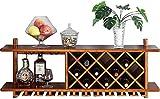 Vinoteca de madera maciza montada en la PARED |Botellero |Soporte para copa de vino colgante | Soporte para copas | Soporte para botella de vino | Estante de PARED Organizador de almacenamiento Ra