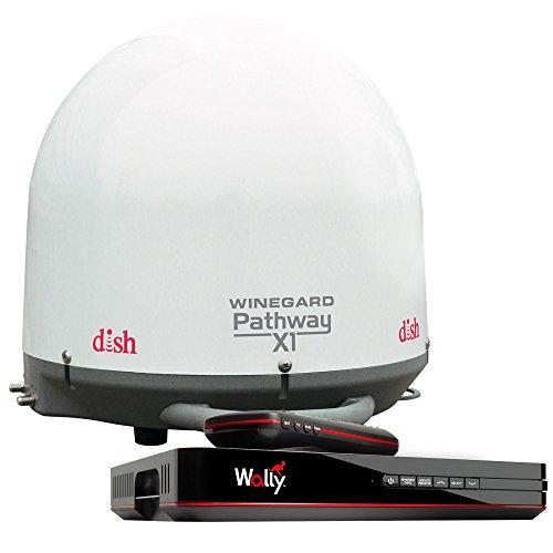 Winegard PA2000R Pathway X1 Automatic Portable Truck Satellite TV Antenna with DISH Wally Receiver Bundle (Trucking Satellite Antenna, Optional Mounts) - White