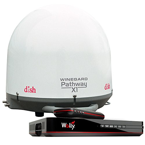 Winegard PA2000R Pathway X1 Automatic Portable Truck Satellite TV Antenna with DISH Wally Receiver Bundle (Trucking Satellite Antenna, Optional Mounts) - White