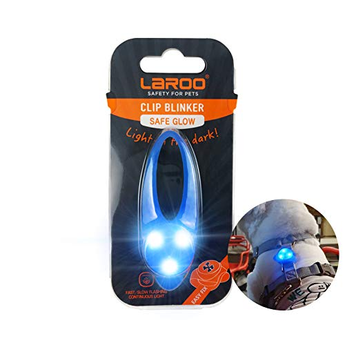 LaRoo LED Dog Tag Light,3 Flashing Model Bright Waterproof Dog Collar Light,Safety Light for Dog Walks & Outdoor Sport.(Blue)