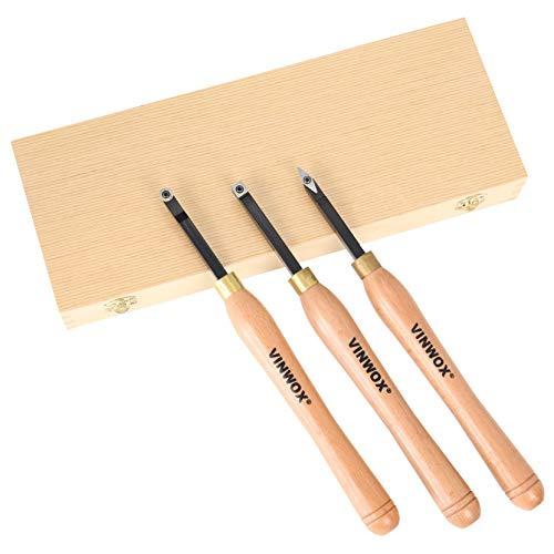 VINWOX 3 PCS Carbide Wood Lathe Turning Tool Set, Carbide Lathe Turning Tool, Carbide Turning Tool, Including Rougher, Finisher, Detailer, Pen Turning tool, Pen Making