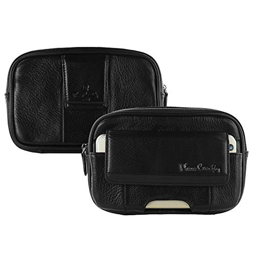 Pierre Cardin Genuine Leather Waist Belt Bag Pack Pouch Zip Travel Bag...