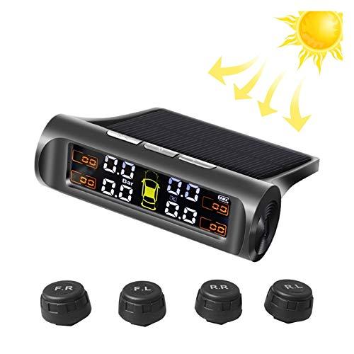 Tpms Monitor de alarma de presión de neumáticos de autos de energía solar Sistema de seguridad de automóviles Temperatura de la presión de los neumáticos Advertencia inteligente en medidor presion neu