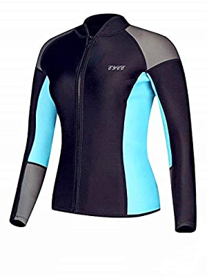 EYCE DIVE & SAIL Women's 1.5 mm Wetsuits Jacket Long Sleeve Neoprene Wetsuit Top (Grey/Aqua, L = US 6)
