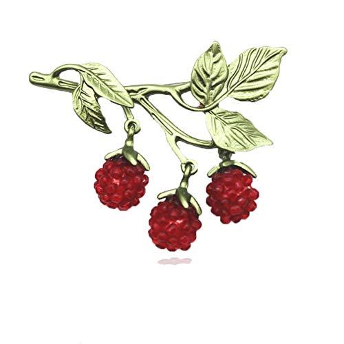 Brosche Neue Vintage Brosche Handgewebte Rote Handgewebte Perlen Obst Himbeer Brosche Schals Schnalle Zubehör