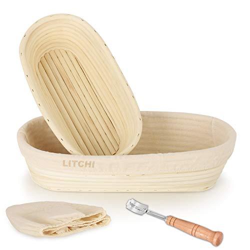 Set Oval(28cm+35cm) Gärkorb 2er Set + Edelstahl Bäckermesser, Gärkörbchen set, Brotform Korb für Brot und Teig-Peddigrohr (Oval, 28cm-0,7kg und 35cm -1kg) mit Leineneinsatz, Groß, rostfrei geklammert