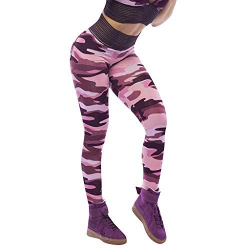 MORCHAN Camouflage séance d'entraînement Leggings Fitness Sport Courir Yoga Pantalons athlétique de Femme(Rose/Medium)