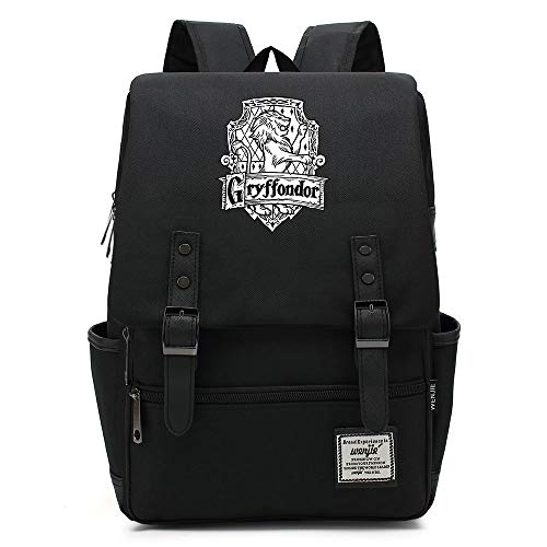 NYLY Adolescente casual retro rucksack hogwarts School Gryffindor Academy backpack Magic Book borsa Unisex Grande Nero B