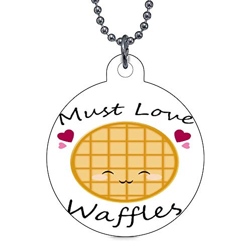 vinmea Pet ID Tag Personalized Dog Tags and Cat Tags Kawaii Waffle Round Pet Id Tag