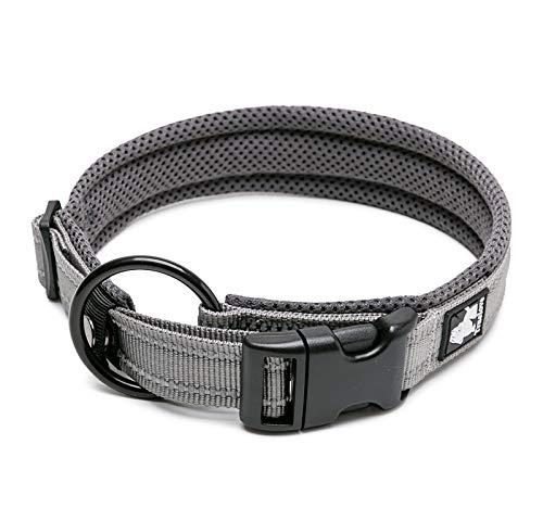 Rantow Morbido Resistente Maglia Traspirante Collare per Cani Strisce Riflettenti notturne Regolabile Collare per Cani per Cani di Taglia Piccola/Media/Grande (XXL(Collo 55-60cm), Grigio)