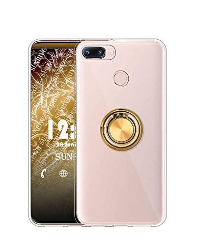 Sunrive Kompatibel mit Oppo F7 Hülle Silikon, 360°drehbarer Ständer Ring Fingerhalter Fingerhalterung Handyhülle Transparent Schutzhülle Etui Hülle (A2 Golden) MEHRWEG