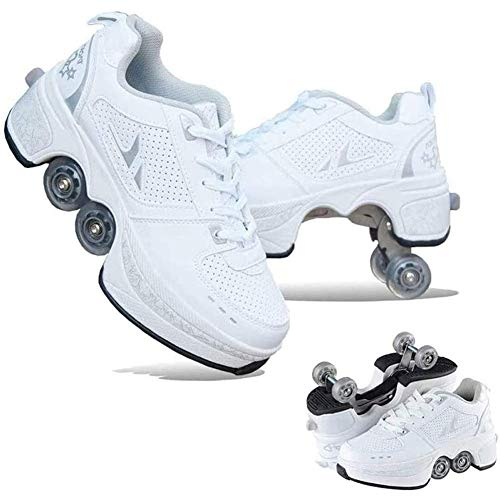 shoes with wheels for adults MLyzhe Deformation Parkour Shoes Four Rounds of Running Shoes Roller Skates for Women 4 Wheel Adjustable Quad Roller Skates Boots