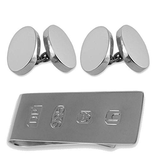 Select Gifts Sterling Silber heavyweight Doppelseitige ovale Manschettenknöpfe James Bond Geld Clip Box Set