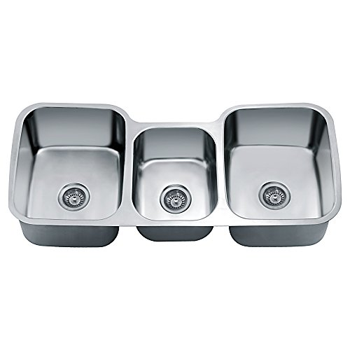 Dawn TDS4520 Undermount Triple Bowl Sink, Polished Satin