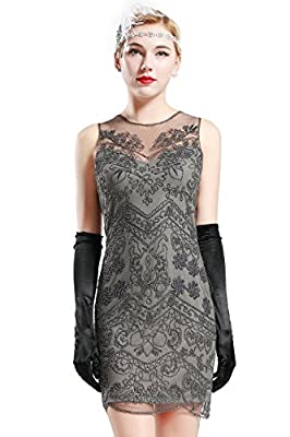 BABEYOND 1920s Flapper Dress Roaring 20s Great Gatsby Clothing Dress Beaded Embellished Dresses Cocktail Art Deco Dress