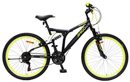 AMIGO Racer - Full Suspension Mountain Bike MTB - 24 Inch - 18 Speed - Black
