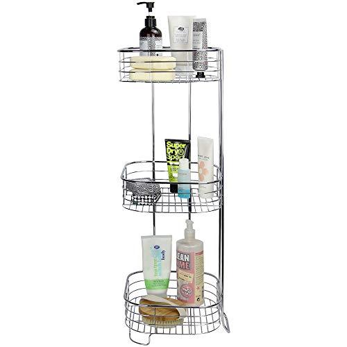 Carrito de ducha independiente de 3 niveles | Organizador de baño cromado | Estante de esquina resistente al óxido | Cestas independientes | M&W