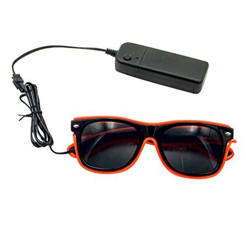 Xniral Unisex Glühende Brille LED-Brille Partybrille mit Batteriefach Ohne Batterie(Orange)
