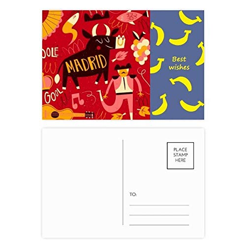 Madrid, Spanische Bullfight Musik Fiesta Banana Postkarten-Set, Danksagungskarte, Postkarte, Seite Postkarten, 20 Stück