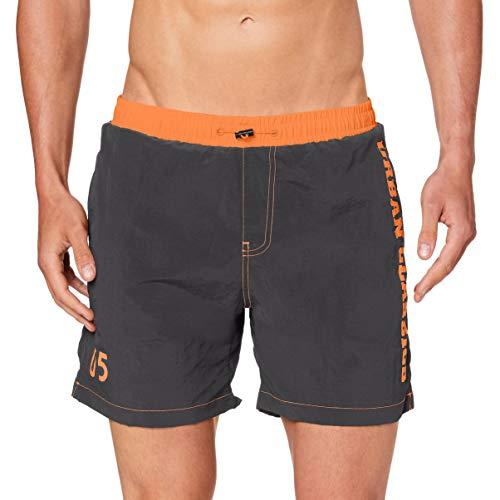 Urban Classics Herren UC Logo Swim Shorts Badehose, darkshadow, L