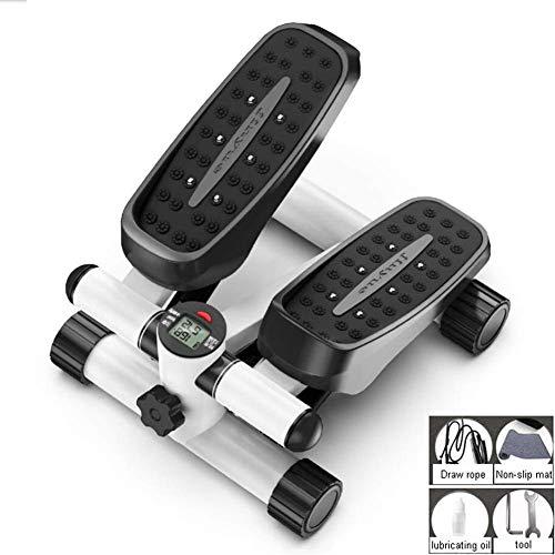 ZHANGKANG Fitness Treppen for Männer und Frauen, Minileiter Fitness Ausdauertraining, höhenverstellbare Drehmaschine, mit LCD-Anzeige und Widerstand Band (Color : Black)