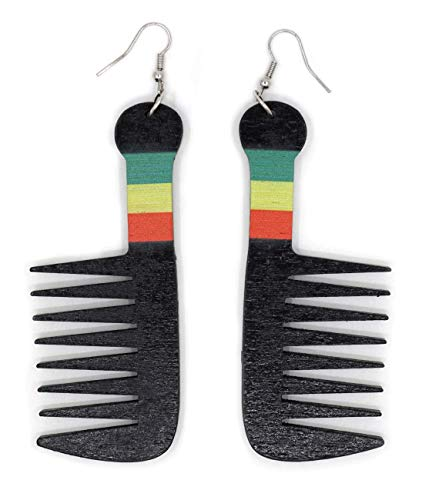 Teri's Boutique Black African American Jamaican Afro Hair Comb Rasta Color Details Wood Light Weight Long Dangle Drop Fashion Earrings