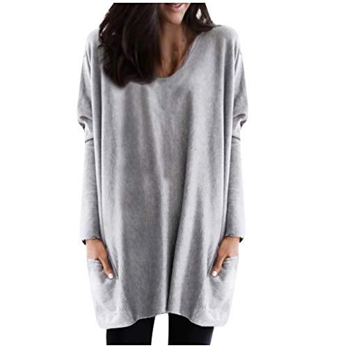 Feytuo Damen Top Elegant Lang Shirt Loose Fit V Ausschnitt im Herbst Winter 2019 Blusen Herbst Winter Sales T-Shirts Günstig Sweatshirts Schön Sport Outwear