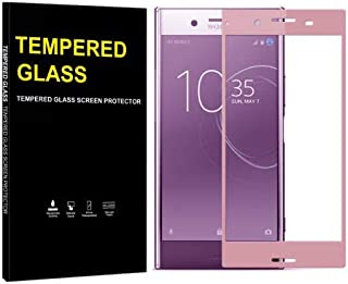 Jaorty for Sony Xperia XZ Premium Full Cover Soft Edge Screen Protector,Full Coverage Tempered Glass 3D Round Edge 9H Hardness Anti-Scratch HD Clear Easy Installation(1 Pack,Pink)