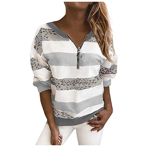 Womens Long Sleeve T Shirt Quarter Zip Sweatshirt Baseball Shirts Crew Neck Top Oversized Blouse Girls Tunic