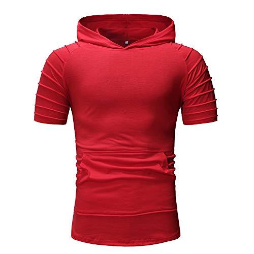 FUQUAN Kurzarm Hoodie T-Shirt Kapuzenshirt Hemd Tee Tops T-Shirt Hoodie Herren Sommer Hoodie Muskelshirt Bodybuilding Ärmelloses T-Shirt Männer Gyms Muscle Shirts Tops Trainingsweste