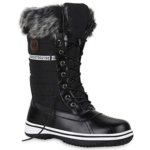 Warm Gefütterte Damen Stiefeletten Winterboots Stiefel Schuhe 128586 Schwarz 38 Flandell