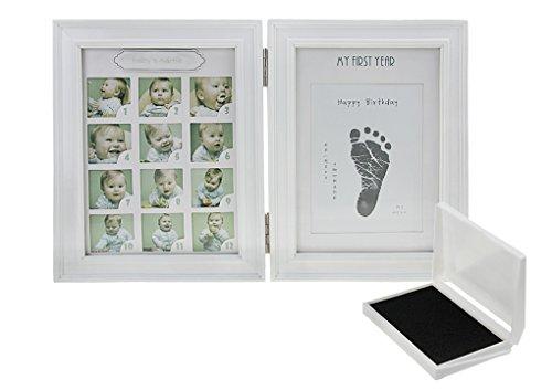 Baby Bilderrahmen Mein erstes Jahr 12 Monate Baby Bild Foto Frame Andenken-Rahmen,Holzrahmen, mit Hand / Fuß-Abdrücke(inkl. Stempelkissen),Erinnerungens,Weihnachts-Geschenk für neugeborenes Baby-Weiß