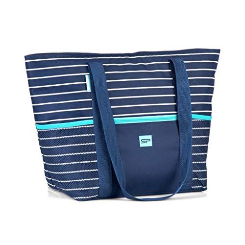 Spokey Grote strandtas met ritssluiting | Dames zak strepen | maritieme design | Boodschappentas shopper koeltas