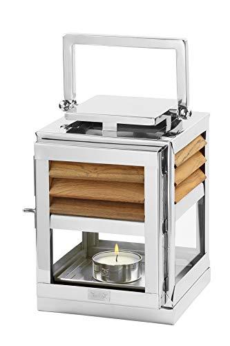 Fink Laterne Genua - Edelstahl mit Teak Holz Element 18x18 cm H 25 cm