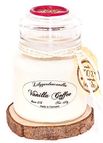 Lilygardencandles Duftkerze Vanille Kaffee im Stopper Jar /100% Sojawachs/ 37+ Stunden Brennzeit/EIN süsser Kaffeeduft
