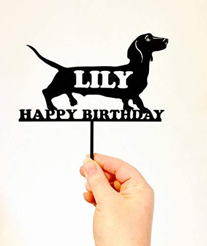 Dachshund Hond met Naam Verjaardagstaart Topper Decoratie Gemaakt om Taarttoppers te bestellen   Worst Hond Cake Topper   Cake Topper Supplies Maker