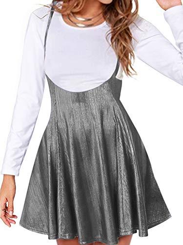 YOINS Women's Suspender Skirts Basic High Waist Versatile Flared Sequins Party Skater Skirts Sequins-Silver XXL