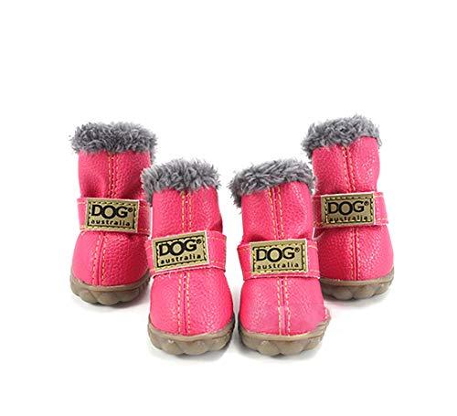 Chaussures Bottes Chien l'hiver Chaussettes Dog Petit Animal de Protecteur Neige Ensemble 4 Anti-Dérapant pour Chiot Chiens Moyens Hiver Marche en Plein Air,Pink,M