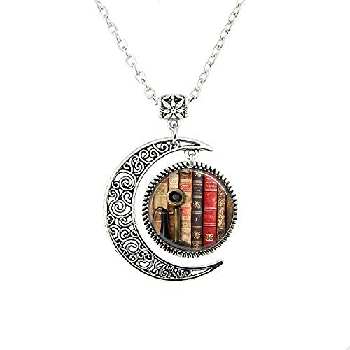 Book Pendant, Old Book Spines and Vintage Telephone Necklace, Old Book Spines and Vintage Telephone Moon Jewelry,moon Necklace Glass Art Picture