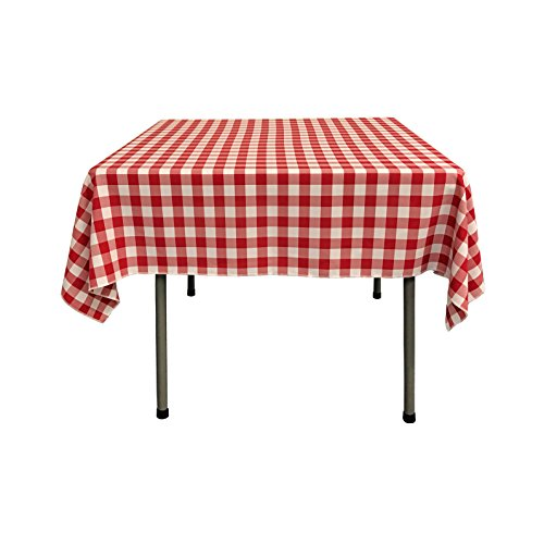 LA Linen Checkered Overlay Tablecloth, 58 by 58-Inch, Red