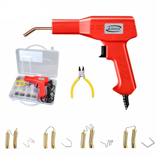 Plastic Welding Machine 50W Handy Hot Staple Gun Car Bumper Crack Repair Kit with Carry Case includes 4 types of Hot Wave Flat Staples 1 Plier tool