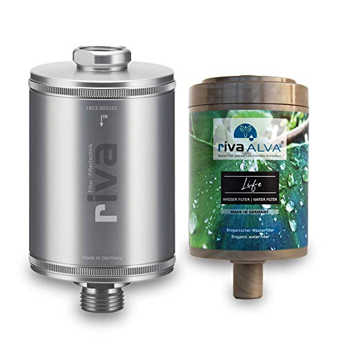 rivaALVA Filter Life Trinkwasserfilter 100% Bio - Wasserfilter Trinkwasser reduziert Kalk, Chlor, filtert Schadstoffe, Silber