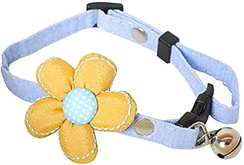QIXIAOCYB Collar de Mascotas -1PC Adorable Pet Collar Flower Bell Collar Cuello Cuello Adorno del Cuello para los Gatos del Perrito Gatito (Color : Blue, Size : 30 * 2cm)