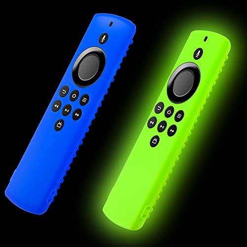 Glow Fernbedienung Abdeckung für Fir TV Stick Lite 2020 Release mit Alexa Voice Remote Lite, Silikon Schutzhülle mit Lanyard (2-Pack blau & leuchtgrün)