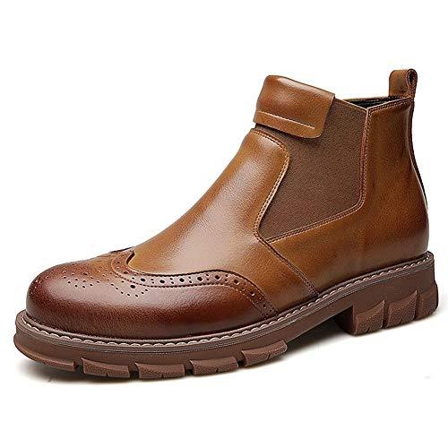 XueQing Pan Chelsea Boot for mannen enkellaarsjes Trek aan echt leder rubberen lug Sole elastische zijkanten Stikkende Non-slip Brogue Carving (Color : Brown, Size : 43 EU)