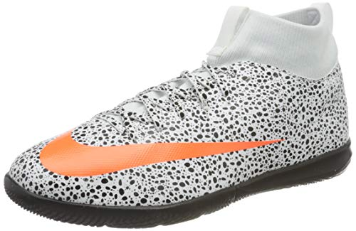 Nike r. Mercurial Superfly 7 Academy CR7 Safari IC, Football Shoe Unisex-Child, White/Total Orange-Black, 33.5 EU