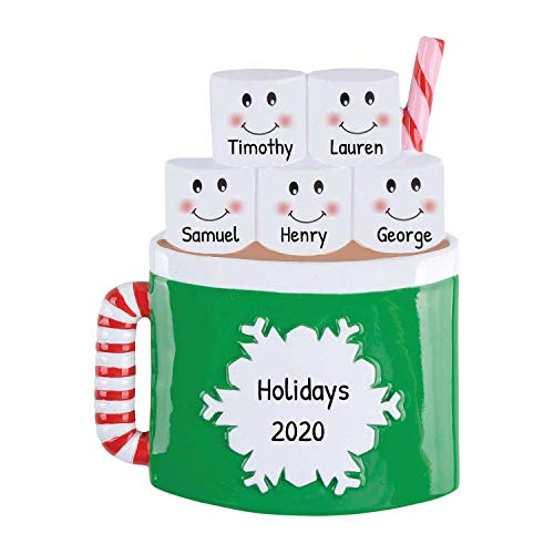 Personalized Marshmallow Mug Family of 5 Christmas Tree Ornament 2020 - Hot Chocolate Mother Father Child Holiday Friend Tradition Sibling Year Gift Winter Drink Cozy Love 1 Kid - Free Customization