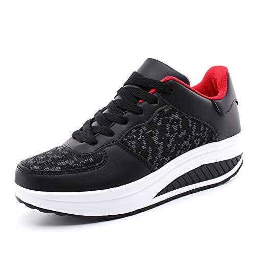 Hoylson Zapatillas Deportivas de Mujer Zapatos de Cuña Aptitud Sneakers Calzado para Damas(Rojo sin algodón, EU 39)