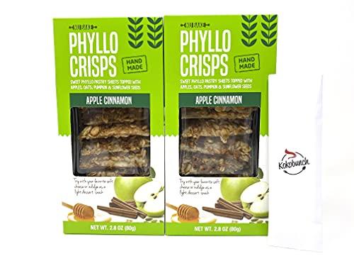 Phyllo Crisps Pastry Dough Sheets Crisp Snack Bundle - Apple Cinnamon with Kokobunch Kit by Nu Bake | 2 Pk - 2.8 oz